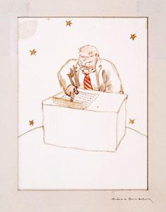 『星の王子さま』挿絵水彩画 「実業家」
