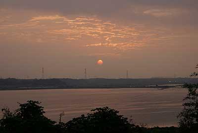 印旛沼夕日