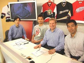 NHLアイスホッケーのスタジオ風景