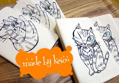 猫イラストのブックカバー/made by keico