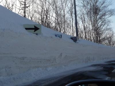 路肩に積もった雪