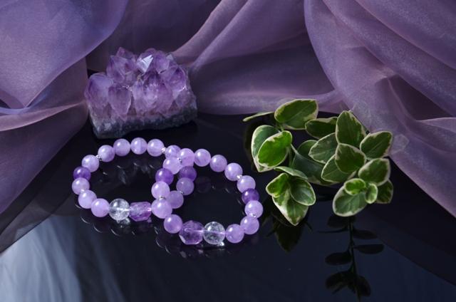 アメジスト、ラベンダーアメジスト、ヒマラヤ(ガネシャ山)水晶のブレス