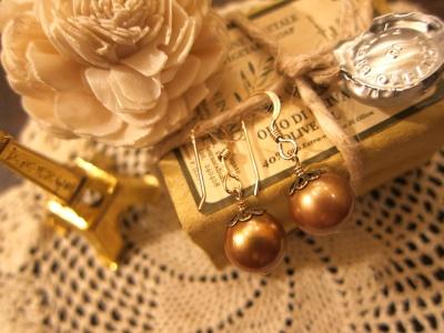 ゴールドカラー淡水パールK14GFフックピアス,900