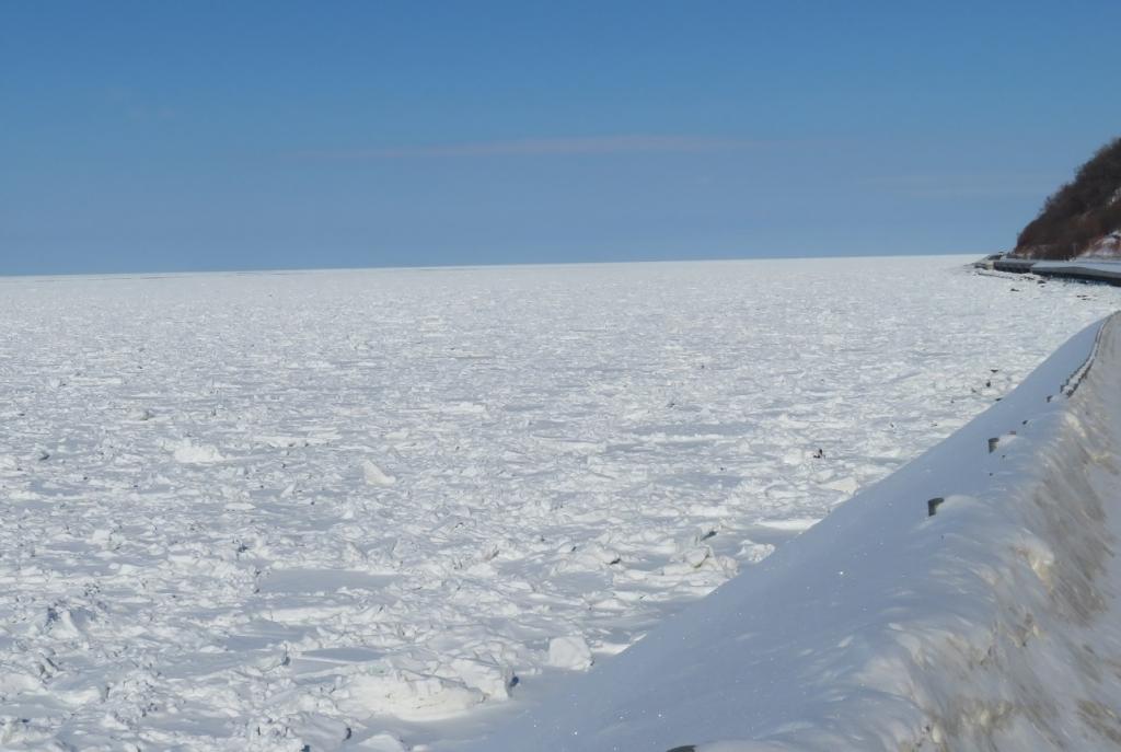 流氷で埋め尽くされた知床の海