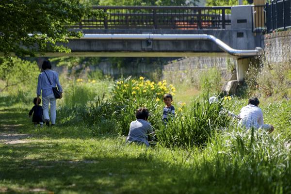 野川で遊ぶ家族
