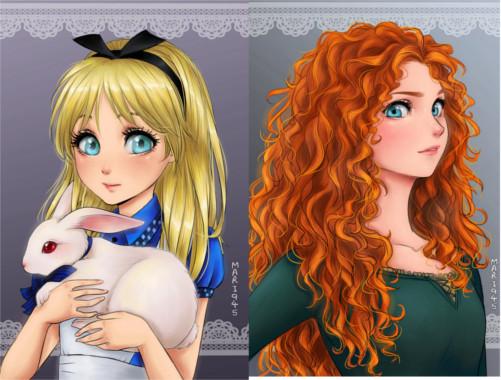 漫画っぽく描かれたディズニープリンセス(アリスとメリダ)