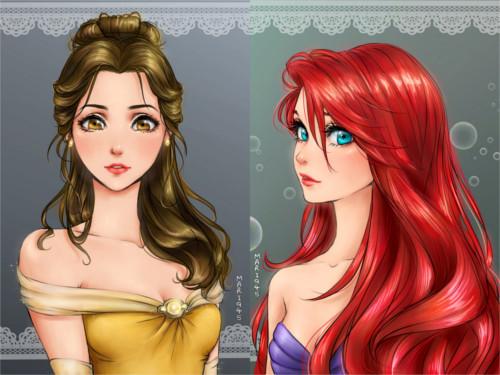 漫画っぽく描かれたディズニープリンセス(ベルとアリエル)