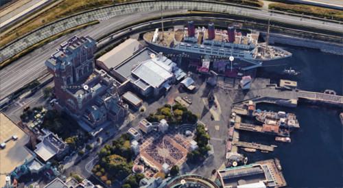 ディズニーシーを3Dの航空写真で眺めるとこうなっていた_アメリカンウォーターフロント