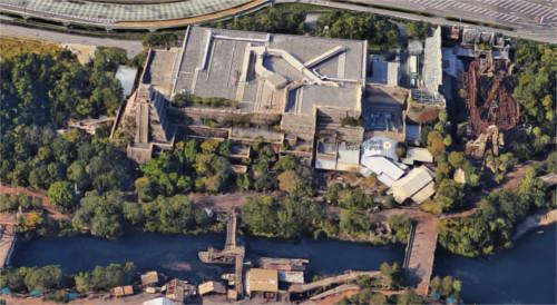 ディズニーシーを3Dの航空写真で眺めるとこうなっていた_ロストリバーデルタ
