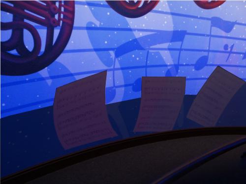 「ミッキーのフィルハーマジック」のQライン壁に描かれた楽譜_2