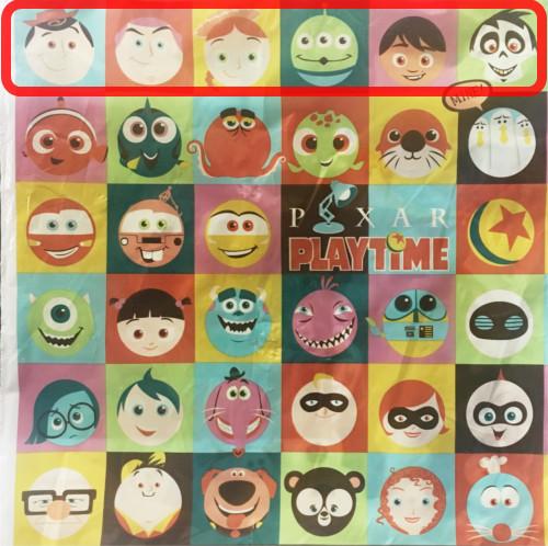 「ピクサープレイタイム」で買い物袋に描かれたキャラクターの名前まとめ_1行目