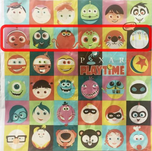 「ピクサープレイタイム」で買い物袋に描かれたキャラクターの名前まとめ_2行目