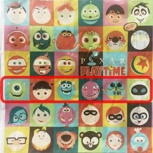 「ピクサープレイタイム」で買い物袋に描かれたキャラクターの名前まとめ_4行目