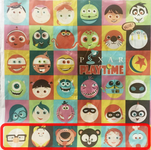 「ピクサープレイタイム」で買い物袋に描かれたキャラクターの名前まとめ_6行目