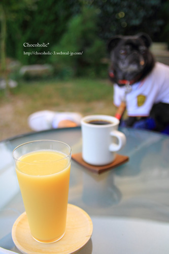 みかんジュースとコーヒー
