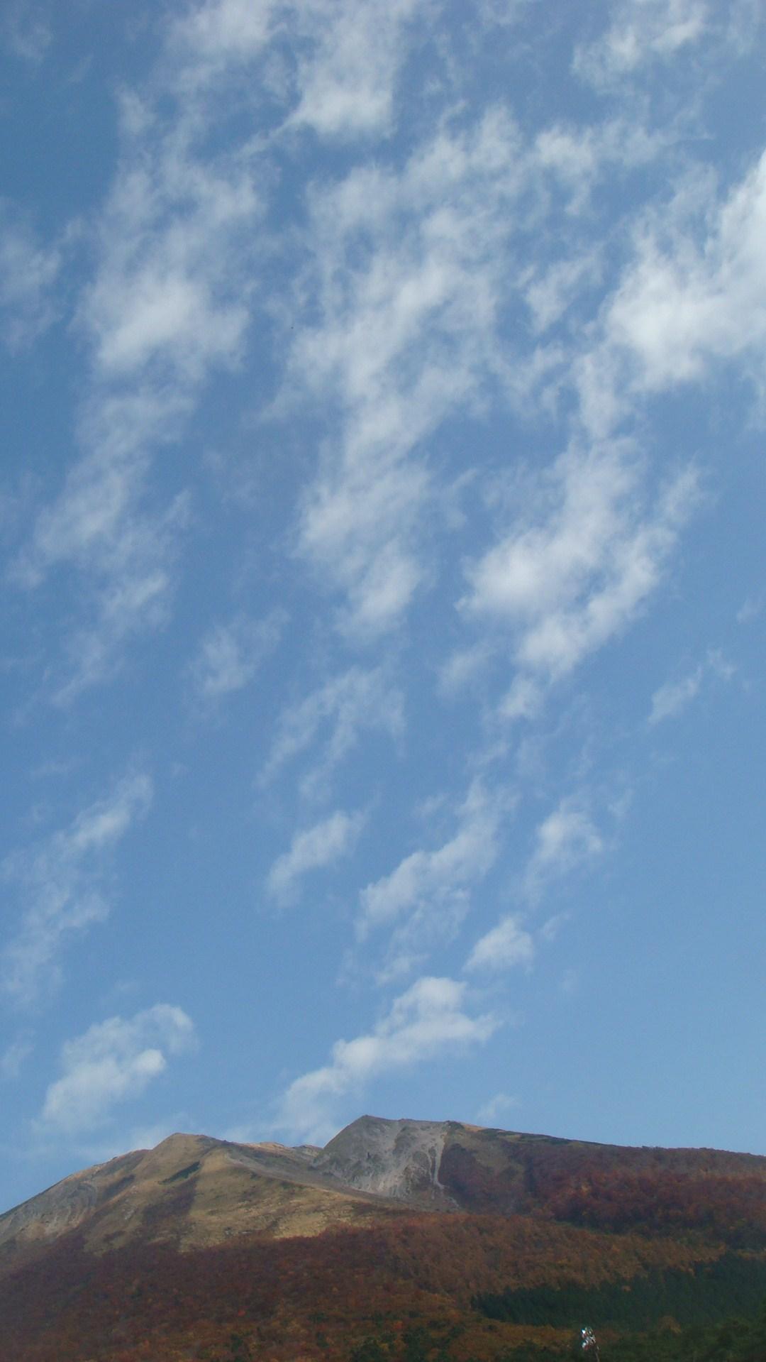 桝水高原の紅葉と青空