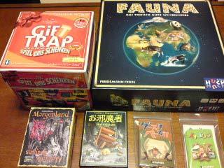 『ギフトトラップ』『ファウナ』『モルゲンランド・カードゲーム』『お邪魔者』『グースカパースカ』『イチゴリラ』