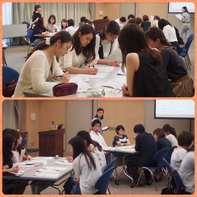 写真 上;グループワークの様子 下;検討結果の発表