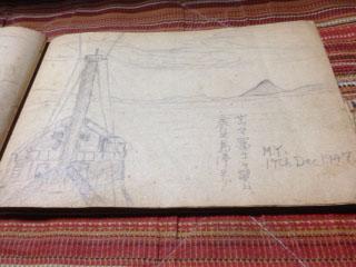 20120103父の航海スケッチ16サツマ富士と舳先