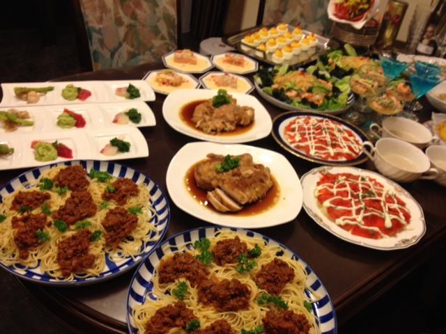 20120814送別会晩餐全メニューミートソース側01