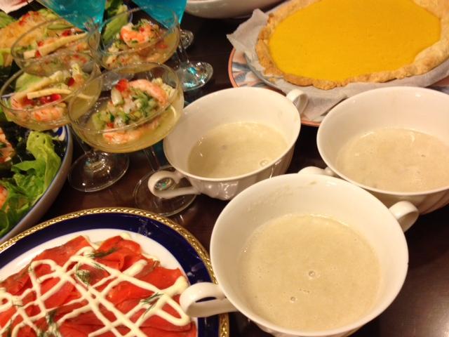 20120814送別会晩餐部分メニュー舞茸泡立てクリームスープ2