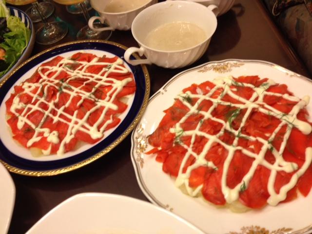 20120814送別会晩餐部分メニューサーモンポ