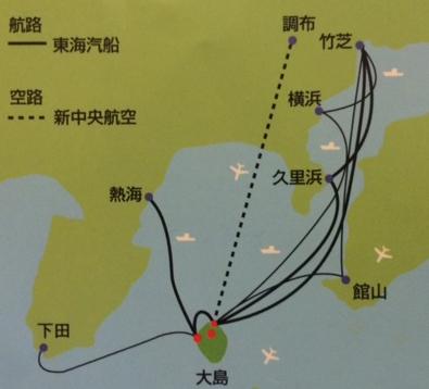 伊豆大島と伊豆半島