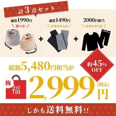 【梅】限定ファーバッグが必ず入る3点セット 2,999円(税込)
