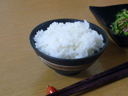 「黒斑点白刷毛平成茶碗」と炊き立てご飯