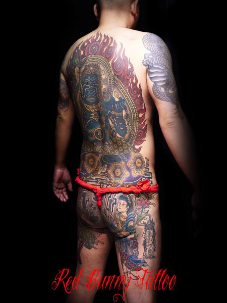 不動明王 刺青・和彫り・背中一面
