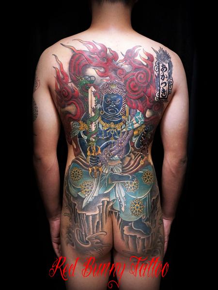 不動明王 刺青 和彫り 背中一面 タトゥーデザイン