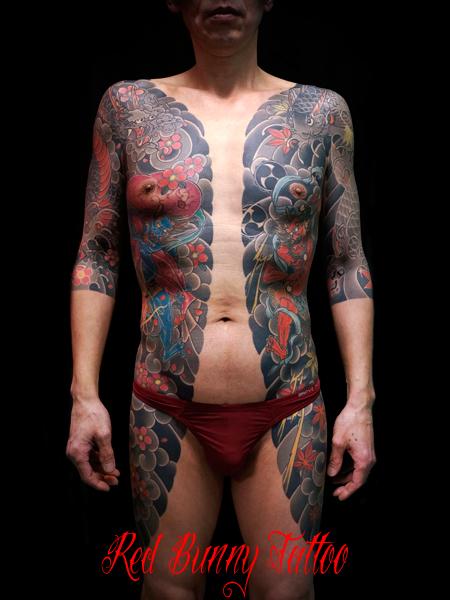 天女・風神雷神・龍・鯉の刺青・和彫り・胸割り