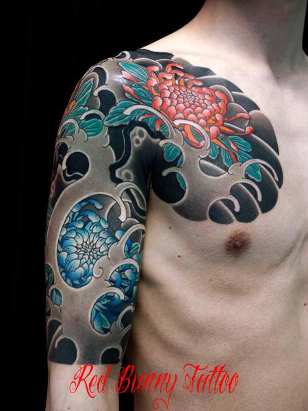 菊 刺青 和彫り タトゥーデザイン