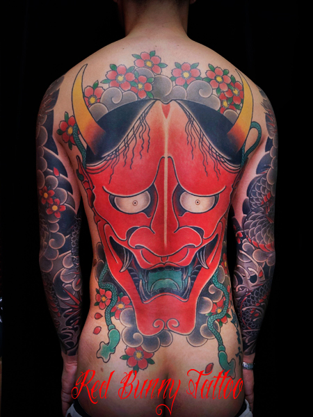般若 刺青 和彫り 背中一面 東京 彫師