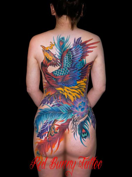 鳳凰 女性の刺青・和彫りデザイン 背中一面