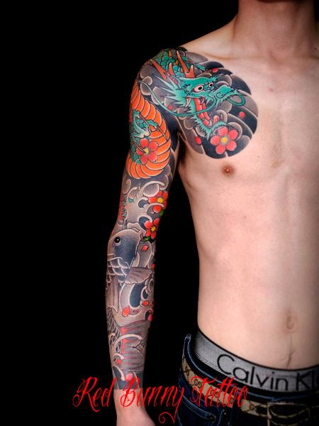 龍 鯉 刺青 和彫り 額彫り japanese tattoo