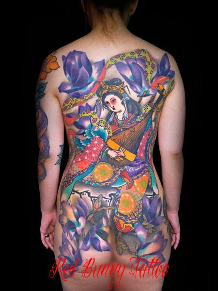 弁財天 女性の刺青・和彫り・背中一面