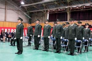 入隊式で宣誓する23名の自衛官候補生