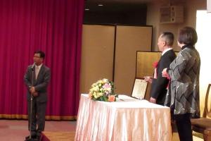 佐久間富雄さんの授賞を祝う会で乾杯の音頭