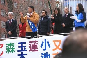 野党共闘の代表者が揃い踏みの大街頭演説会