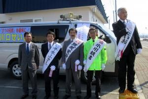 川口町長候補と坂尻、小川、平木町議候補の合同演説会