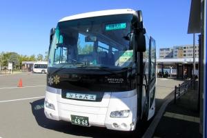 富良野駅から新得に向かう代行バスに乗車