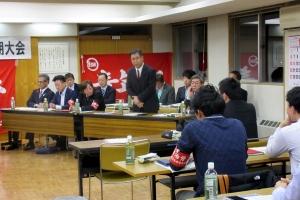 自治労上川町職労の定期大会で挨拶