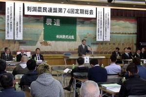 剣淵農民連盟の定期総会であいさつ
