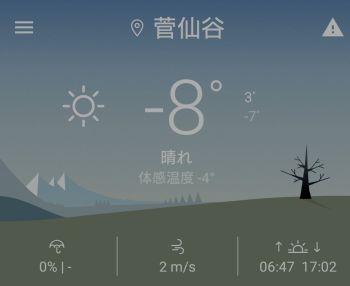 今朝は-8度
