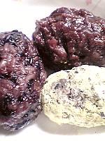 おはぎ3種、黒米・小豆あん・うぐいす黄な粉