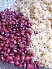 北海道産の小豆(あずき)と玄米