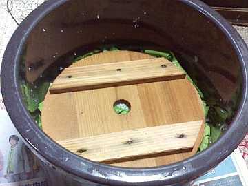 漬物用の甕に仕込む