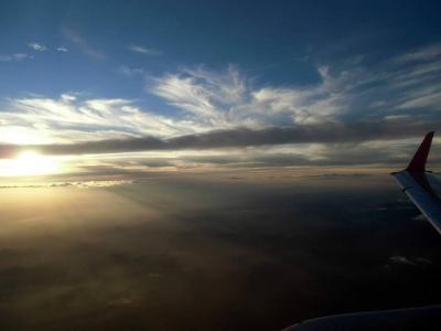 夕日の雲海を見ながら・・・