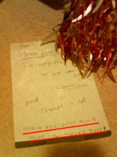 housekeeperからのお返事画像。